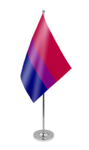 Bisexual Pride Desk / Table Flag with chrome stand and base